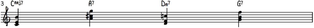 Turnaround progression in the key of C for jazz piano with chord shells : guide tones