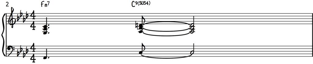 Herbie Hancock Stock Chords for Jazz Piano; F Minor 7 to C9sus4