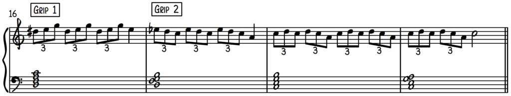 Triplet exercise for beginner jazz piano