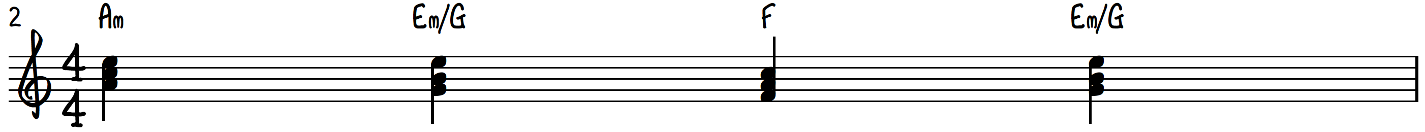 6-5-4-5 chord progression with modified 5 chord on piano