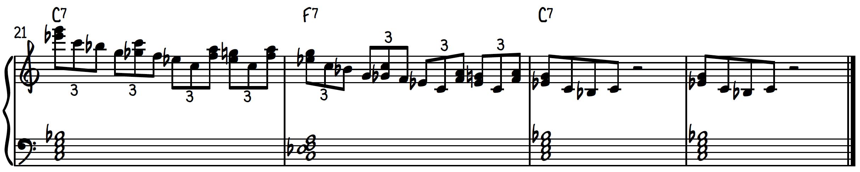 Blues piano lick #3 (line #3)