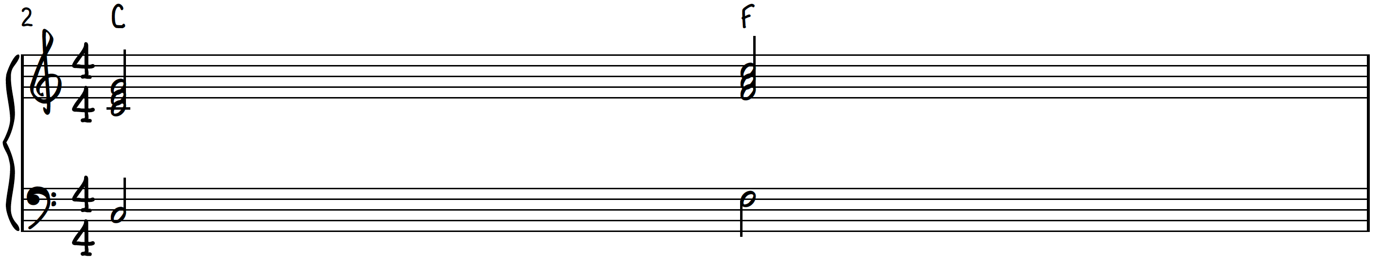 C Major to F Major chords on piano