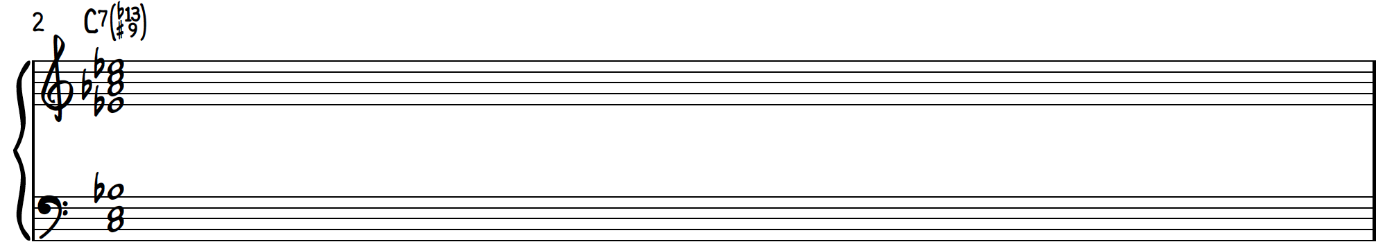 Dissonant Chord 1 transformed to jazz chord C7b13(#9) on piano