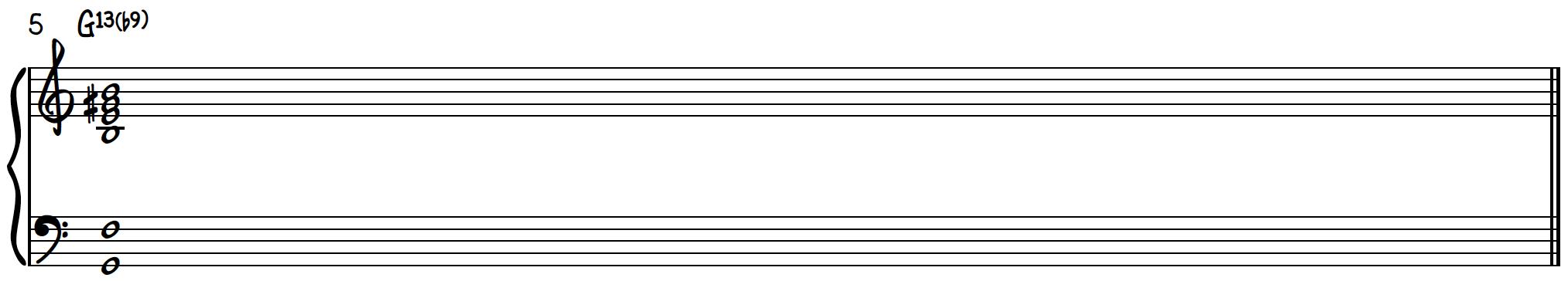 Dissonant Chord 2 transformed to jazz chord G13(b9) on piano