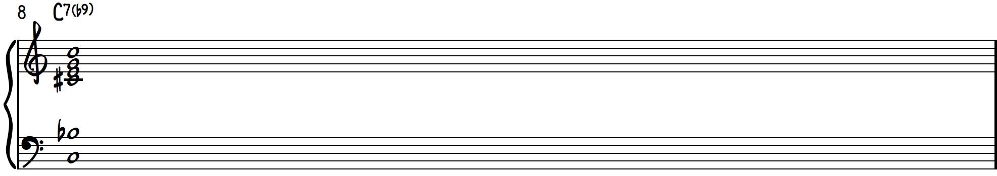 Dissonant Chord 3 transformed to jazz chord C7(b9) on piano