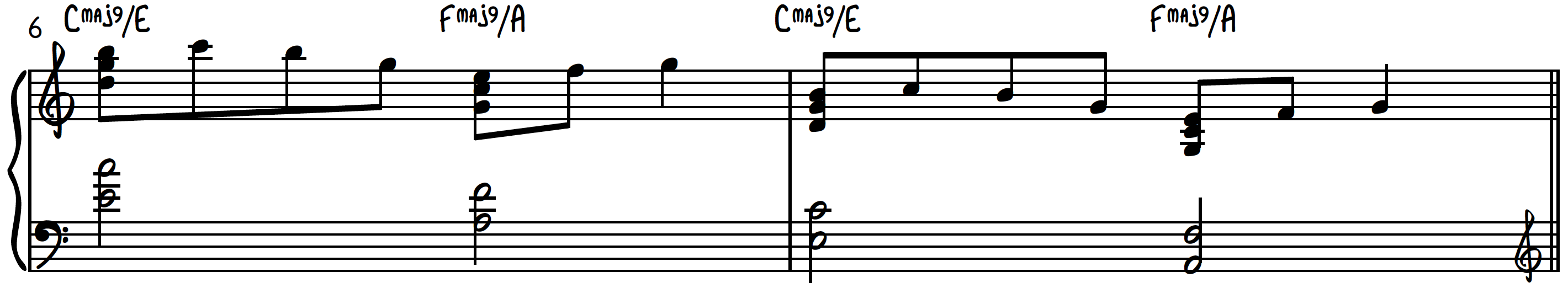 Example 2 - Heaven Chords in a contemporary piano chord progression - useful as an intro