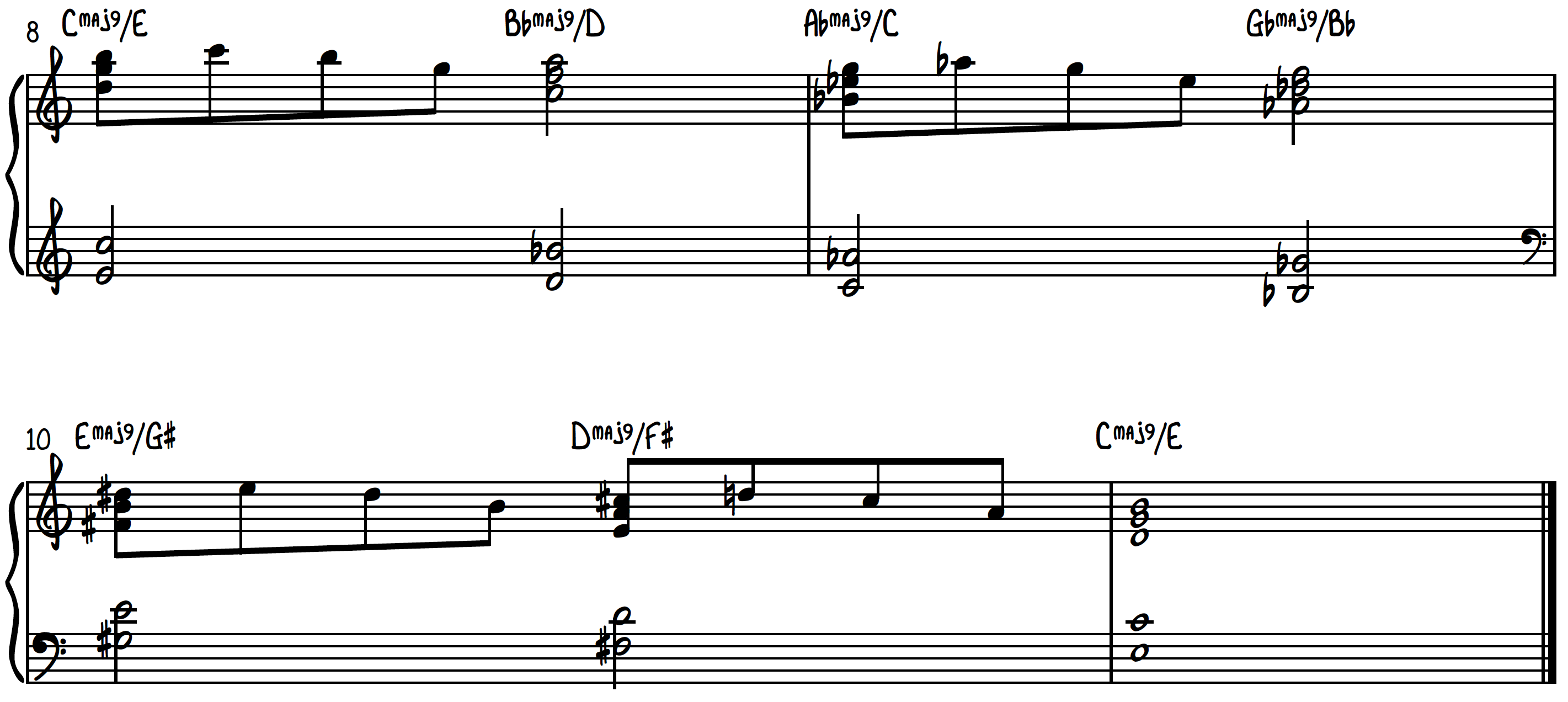 Example 3 - Heaven Chords used to harmonize primarily notes of C Scale