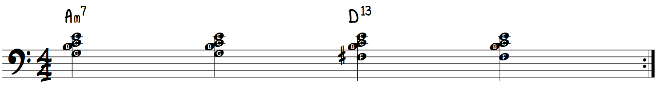 4-On-The-Floor jazz and blues piano groove Am7 to D13 lef hand rootless voicings