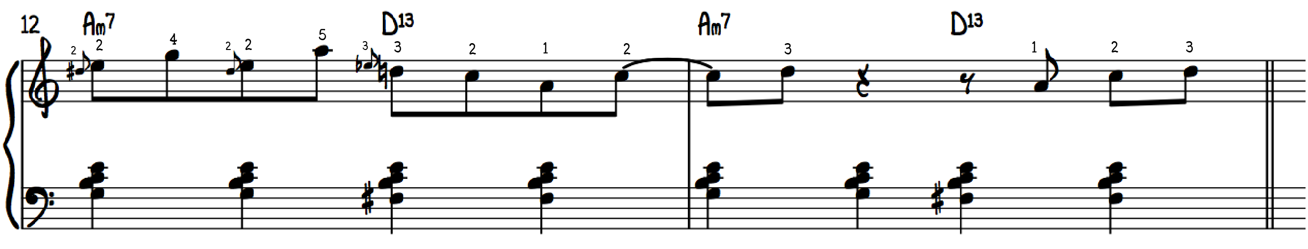 Jazz Piano Grips combining lower position and upper position