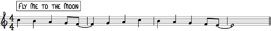 Melody example drawn from major scale Fly Me To the Moon