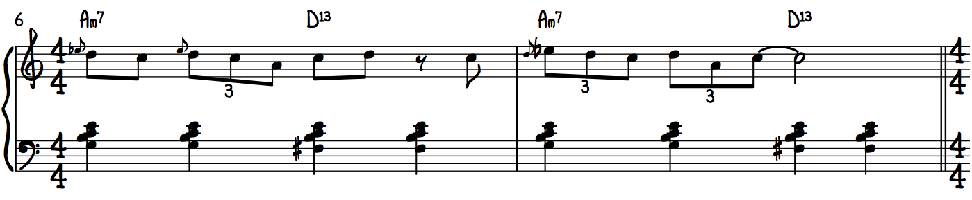 A Minor Blues Lower Position Example Lines Jazz and Blues Piano