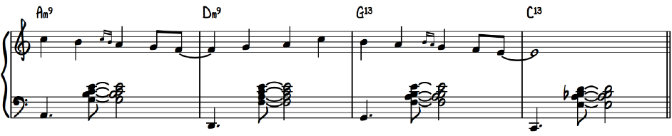 Jazz Melody with Rootless Voicings Am9 Dm9 G13 C13