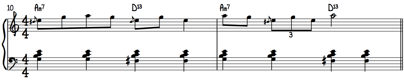 A Minor Blues Upper Position Example Line
