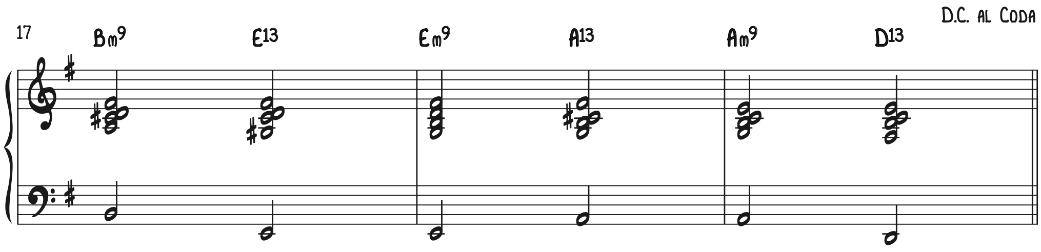 2-5 root movement and rootless voicings Have Yourself a Merry Little Christmas Piano Accompaniment B Section