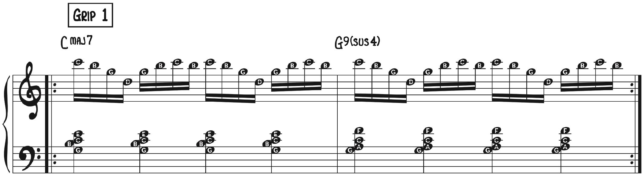 16th Note Exercise–Grip 1 contemporary piano improv technique