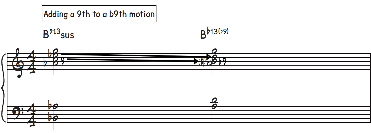 Adding even more motion by going from a natural 9 to a b9 on a dominant 7th chord