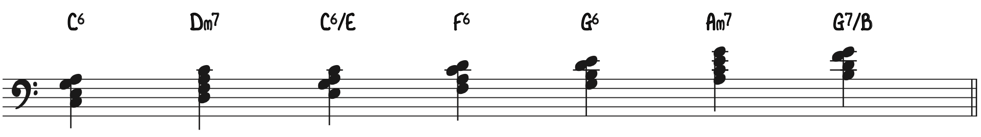 Colorized Chords for Stride Piano Exercise