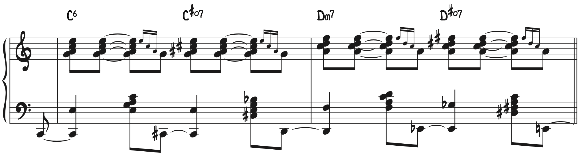 Stride Piano Exercise—Combined Hands