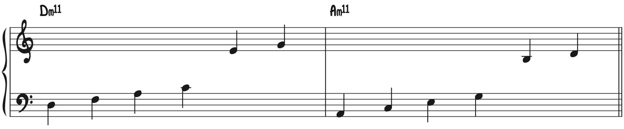 Step 1 Stack Five 3rd (ii and vi) diatonic minor 11 chords
