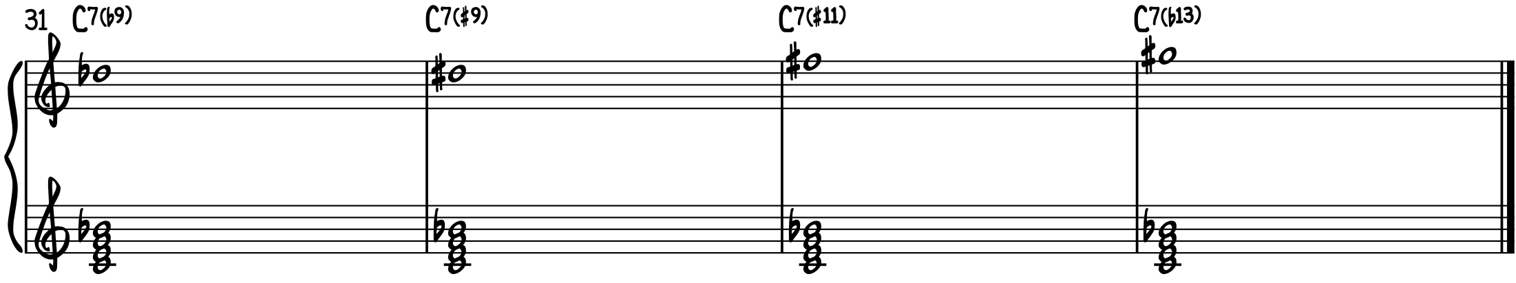 Altered Piano Chords Dominant C7(b9) C7(#9) C7(#11) C7(b13)
