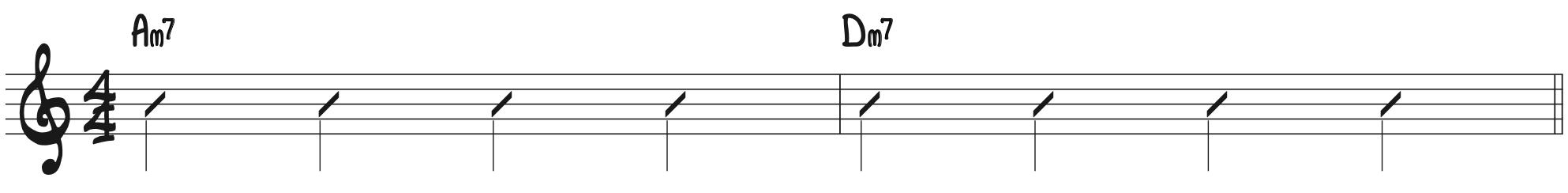 Quarter note melody in rhythmic notation