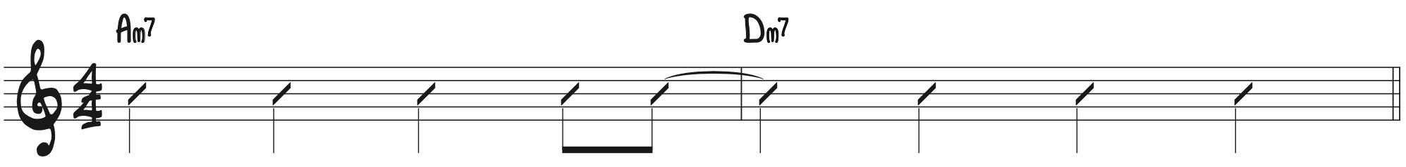 Rhythmic notation anticipating the downbeat swing convention