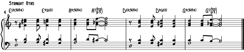 Stock Latin Intro bossa brazilian piano straight 8ths