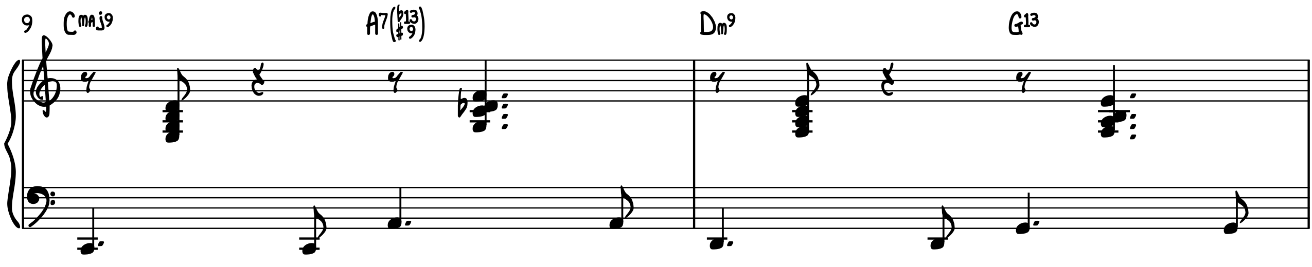 Blue Moon 2-Feel jazz piano accompaniment turnaround progression rootless voicings