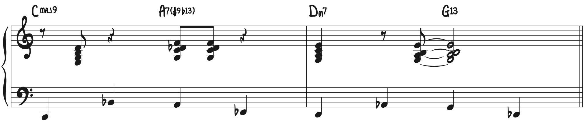 Blue Moon basic Walking Bass Line turnaround progression