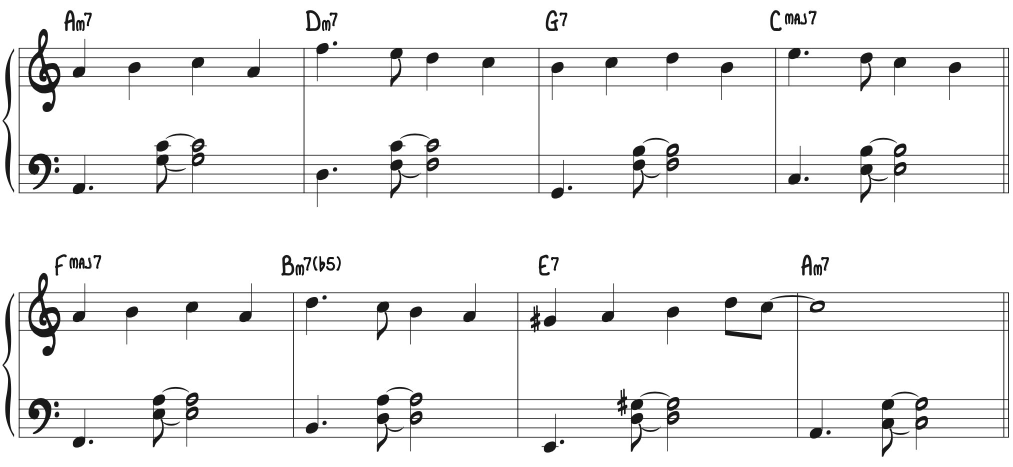 """Beginner jazz swing piano arrangement in the style of """"Fly Me to the Moon"""""""
