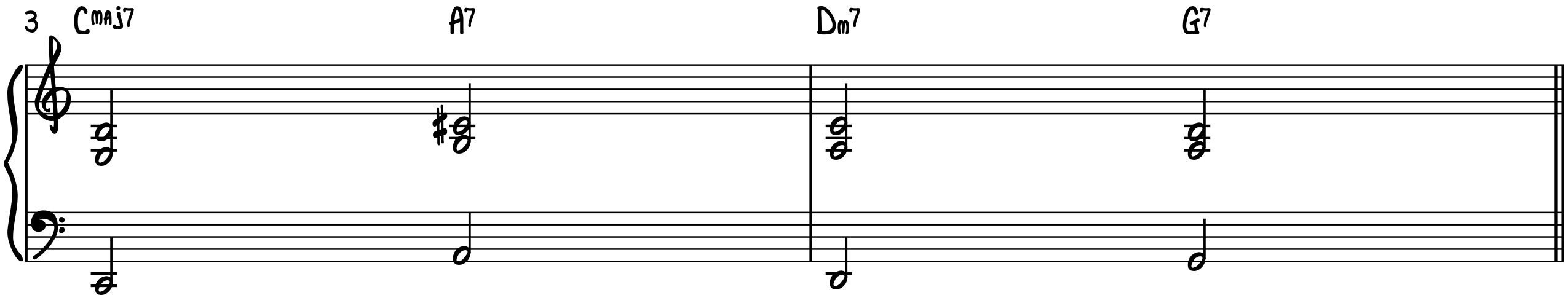 The turnaround progression in C with guide tones in the right hand for jazz piano accompaniment