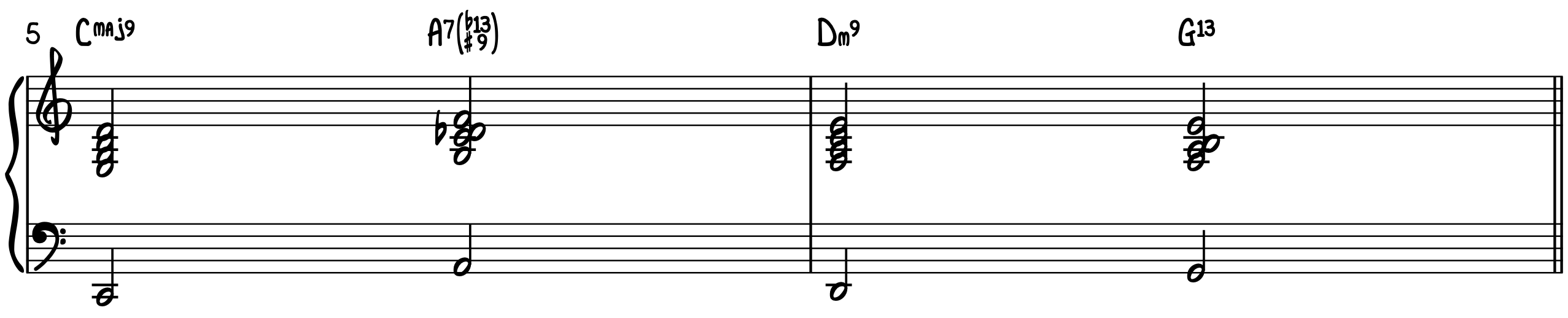 The Turnaround Progression with Rootless voicings jazz piano accompaniment