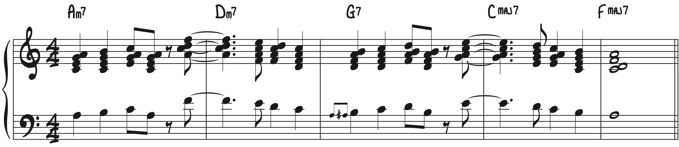 Fly On By in Block Chords jazz piano George Shearing style