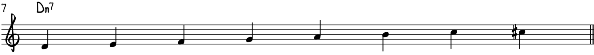 The D minor bebop scale to solo over D minor 7th chord