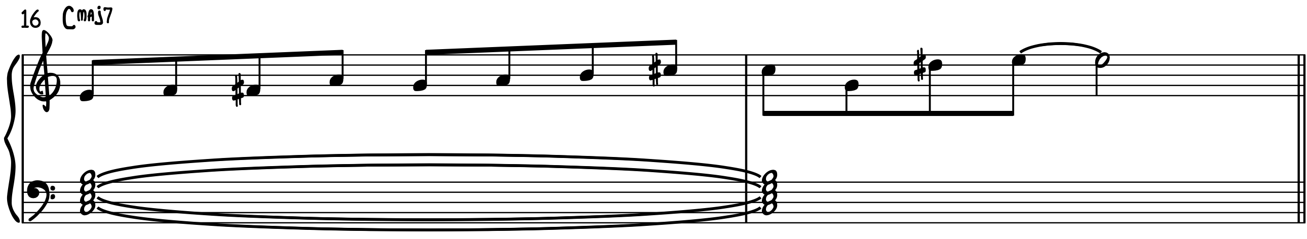 C Major 7 Example Line to play bebop piano