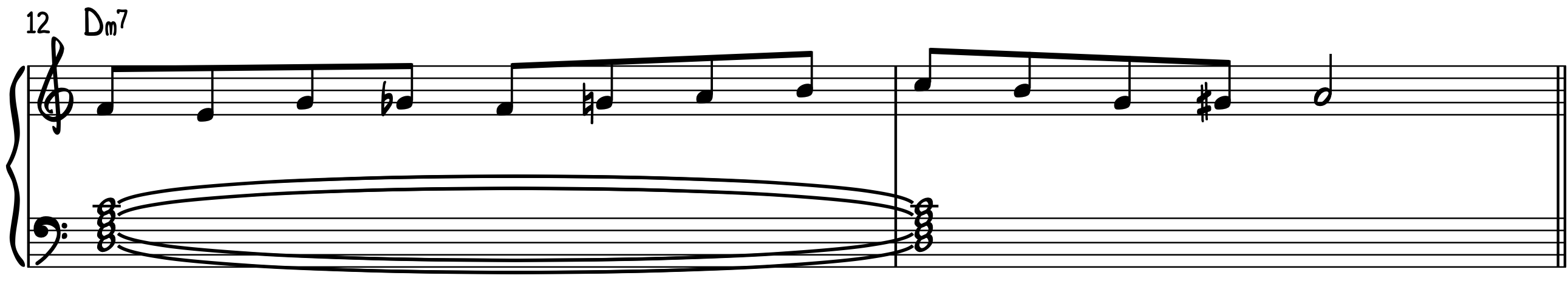 D Minor 7 Example Line to play bebop piano