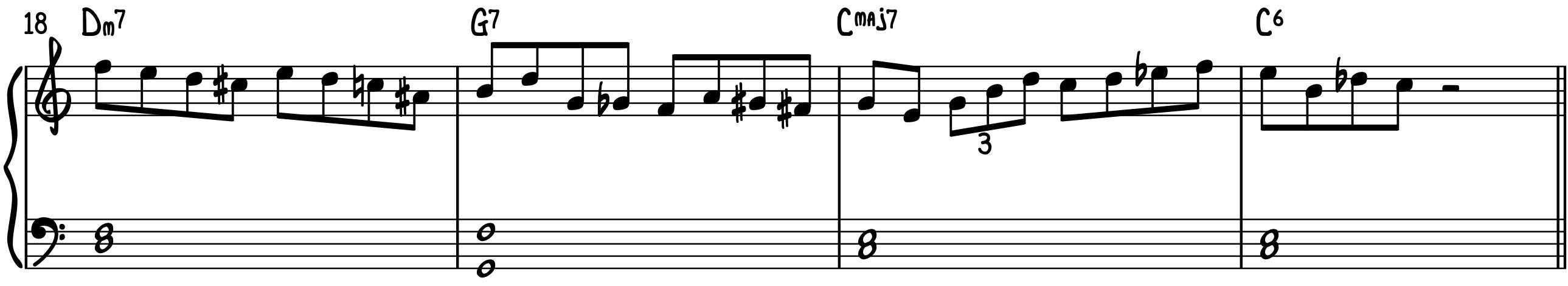 Play Bebop Piano Lines Example 1